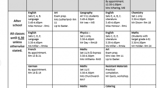 Year 11 Revision Timetable 2017